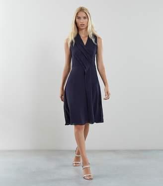 Reiss Alana Pleat Front V Neck Dress