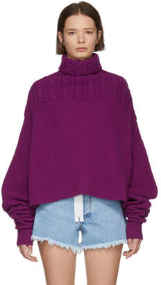 Unravel Purple Rib Hybrid Turtleneck