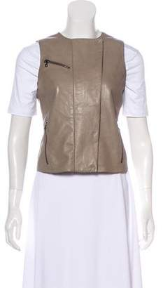 J Brand Leather Zip-Up Vest