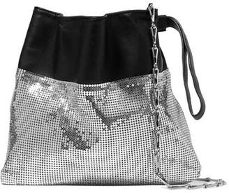Paco Rabanne Gym Pouch Leather And Chainmail Shoulder Bag - Silver