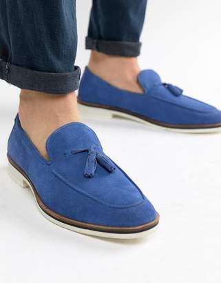 Asos Design DESIGN loafers in blue suede with tassel