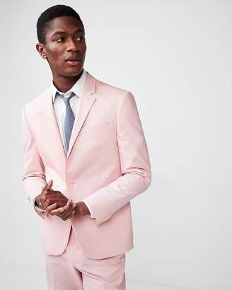 Express Extra Slim Pink Stripe Cotton Blend Textured Suit Jacket