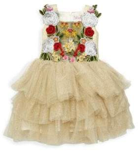 Halabaloo Little Girl's & Girl's Floral Embroidery Tiered Ruffle Dress