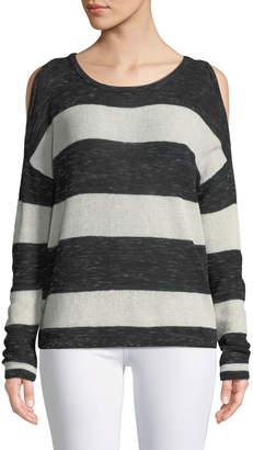 Black Tape Cold-Shoulder Striped Knit Tee