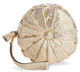 Anya Hindmarch Circle Pillow Metallic Leather Clutch