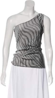Fendi One-Shoulder Knit Striped Top