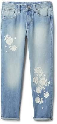 Gap Floral Detail Girlfriend Jeans