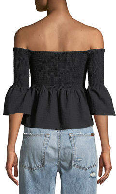 MinkPink Mink Pink Say It Right Smocked Off-The-Shoulder Babydoll Top