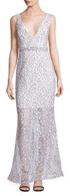 Nicholas French Lace Deep V-Neck Gown