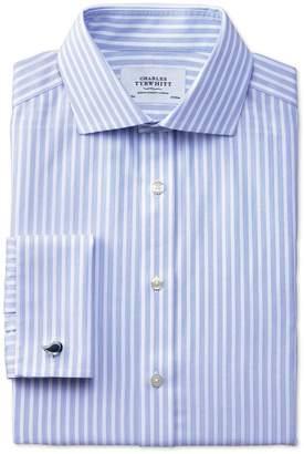 Charles Tyrwhitt Extra Slim Fit Spread Collar Non-Iron Stripe White and Sky Blue Cotton Dress Shirt Single Cuff Size 16.5/33