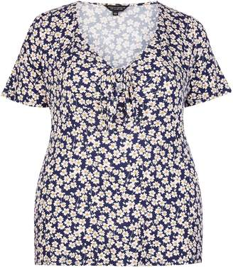 a69a2ce66f94 Dorothy Perkins Womens   Dp Curve Navy Ditsy Print Tie Front Top
