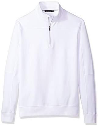 Bugatchi Men's Long Sleeve Solid Half Zip Mock Pullover