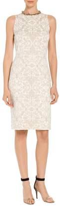 St. John Gold Leaf Brocade Knit Sheath Dress