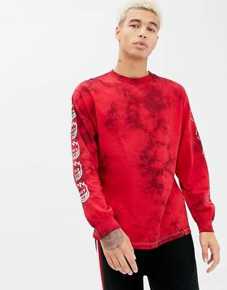 HUF x Spitfire Crystal Wash Long Sleeve T-Shirt With Repeat Back Print In Red