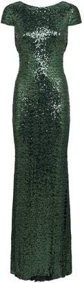 Badgley Mischka Low-Back Sequin Gown