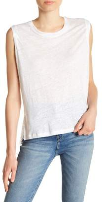 Blank NYC BLANKNYC Denim Lace-Up Yoke Linen Tank Top