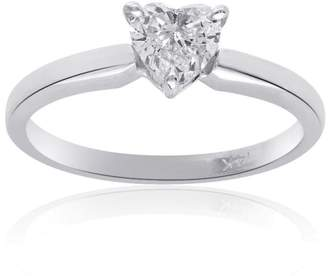 14K White Gold 0.45 Ct Heart Shape Diamond Engagement Ring Size 6