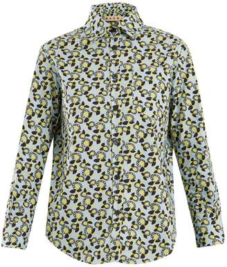 Marni Plumeria-print point-collar cotton shirt