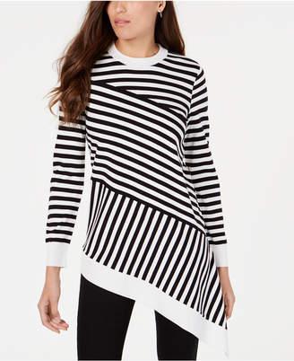 Alfani Striped Asymmetrical-Hem Sweater