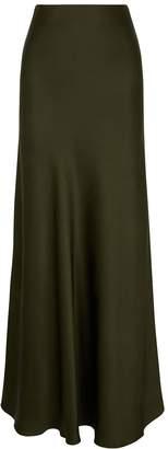 Rosetta Getty Army Green Satin Midi Skirt