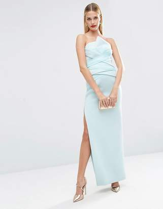 ASOS RED CARPET Premium Organza Fold Bonded Scuba Bandeau Pencil Maxi Dress $128 thestylecure.com