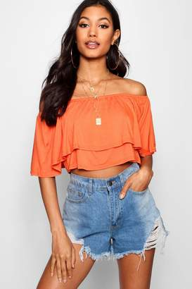 boohoo Off The Shoulder Frill Crop Top