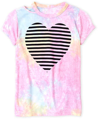 Flowers by Zoe Girls 7-16) Stripe Heart Tie-Dye Tee