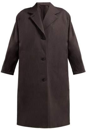Chimala Shadow Stripe Single Breasted Cotton Coat - Womens - Black