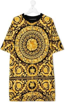 Versace TEEN baroque print T-shirt dress