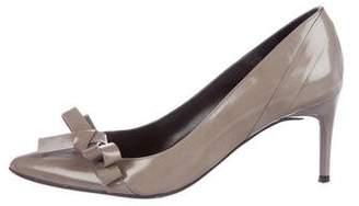 Paule Ka Leather Pointed-Toe Pumps
