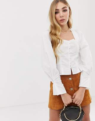 PrettyLittleThing ruched shoulder button down long sleeve blouse in white