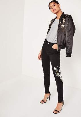 Missguided Black High Rise Embroided Ripped Mom Jeans