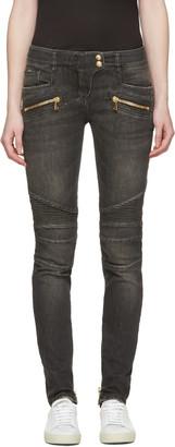 Balmain Grey Biker Jeans $1,310 thestylecure.com