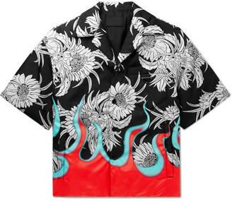 Prada Oversized Camp-Collar Printed Padded Nylon Shirt