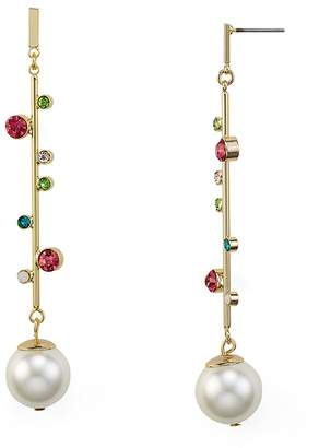 RJ Graziano Linear Simulated-Pearl Drop Earrings