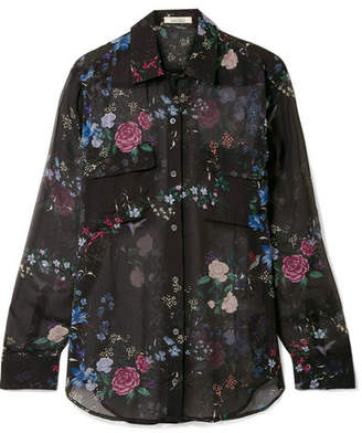 Equipment Tabitha Simmons Signature Floral-print Silk-chiffon Shirt - Black