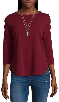 BY AND BY by&by 3/4 Sleeve Round Neck Woven Blouse-Juniors
