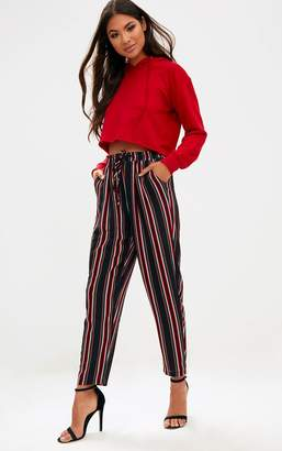 PrettyLittleThing Black Stripe Casual Trousers