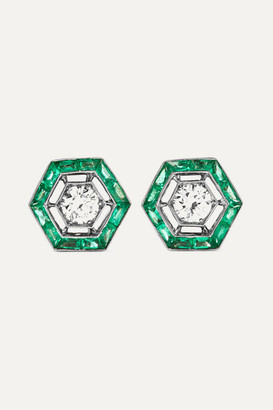Fred Leighton Collection 18-karat White Gold, Emerald And Diamond Earrings