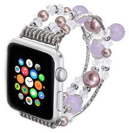 Unbranded Jeweled Replacement Band for Apple Watch Series 1,2,&3-Silver and Purple 42MM