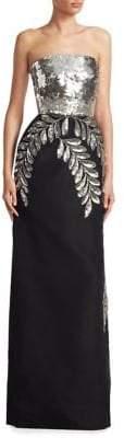 Oscar de la Renta Silk Sequin Gown