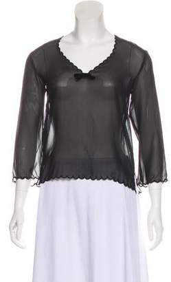 Andrew Gn Silk Long Sleeve Top