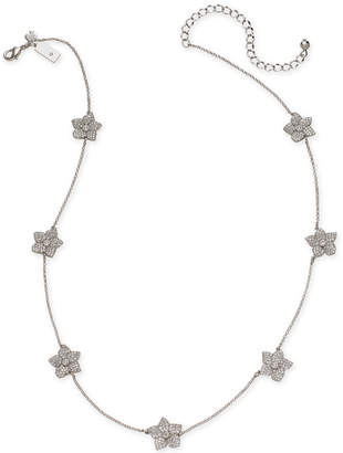"Kate Spade Gold-Tone Pave Flower Station Necklace, 17"" + 3"" extender"