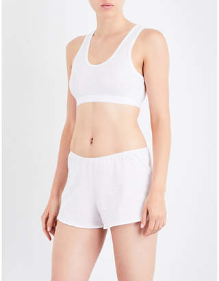 Sunspel Racerback stretch-cotton cropped top $36 thestylecure.com
