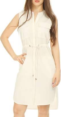 Allegra K Women's Drawstring Waist Single Breasted Sleeveless Dress M