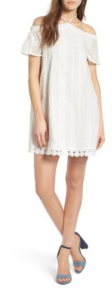 Women's Everly Eyelet Off The Shoulder Dress $55 thestylecure.com