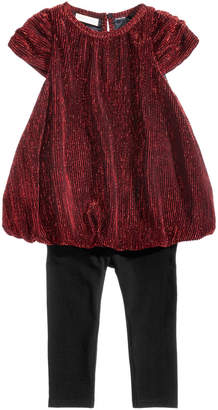 First Impressions 2-Pc. Pleated Metallic Tunic & Leggings Set, Baby Girls, Created for Macy's