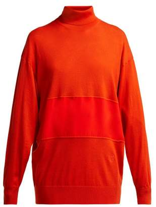 Chloé Roll Neck Silk Panel Wool Sweater - Womens - Red