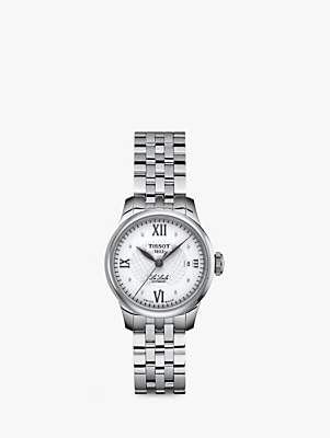 Tissot T41118316 Women's Le Locle Automatic Diamond Date Bracelet Strap Watch, Silver/White