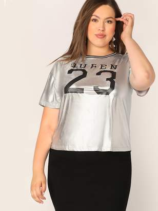 Shein Plus Striped Neck Letter Print Metallic Top